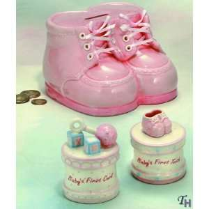 Russ Baby Booties Bank & Trinket Box 3 Piece Gift Set First Tooth