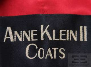 Anne Klein Red Wool & Cashmere Double Breasted 3/4 Length Belted Coat