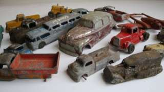 of Very old Tootsietoy Cars/truck Manoil Old toys Junkyard parts etc