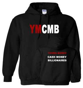 YMCMB HOODIE YOUNG MONEY LIL WEEZY Wayne HIP HOP White Logo Hooded