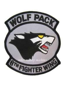 AIR FORCE F 16 8TH FIGHTER WING KUNSAN AB KOREA WOLF PACK PATCH
