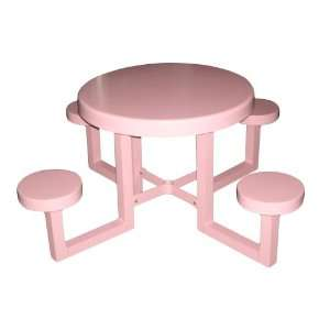Tables 335A0016 30 Inch Round Aluminum Kids Picnic Table, Pink Patio
