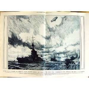 1917 WAR TRANSPORT SEA NAVY SHIPS ZEPPELIN PEARS PRINT
