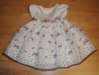 Toddler Girls Wonder Kids Christmas Dress White Sheer Red Bows Pretty