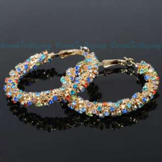 40 60MM GOLDEN TWISTED COLORIZED CRYSTAL EARDROP FASHION JEWELRY HOOP