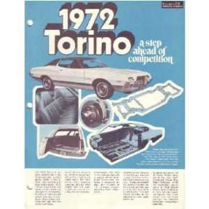 1972 FORD TORINO Sales Brochure Literature Book Piece