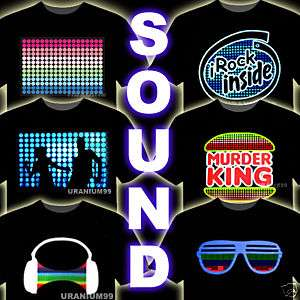 SOUND ACTIVATED LED EQUALIZER T SHIRT HIP HOP PARTY RAP