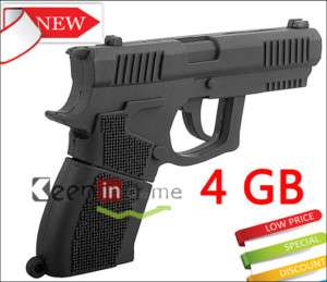 4GB 4 GB Black Gun Shape USB Flash Drive Memory Disk