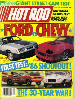 HOT ROD Magazine Ford vs Chevy 1986 Mustang GT Camaro IROC Z28