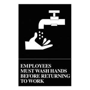 Quartet ADA Approved Hygiene Sign, Employees Must Wash Hands Symbol