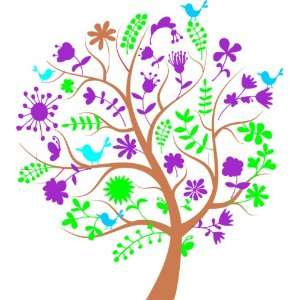 Removable Wall Decals  Birds in Tree with Flowers