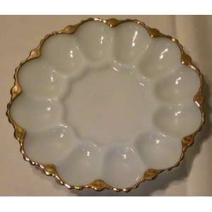 Vintage Anchor Hocking Fire King Gold Trimmed Deviled Egg