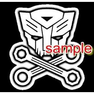 AUTOBOT SKULL CROSSBONES WHITE VINYL DECAL STICKER