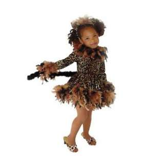 Cute Brown Leopard Print Cat Feather Girls Halloween