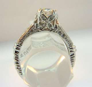 Old European Diamond Ring Antique Art Deco Style 14k White Gold 1