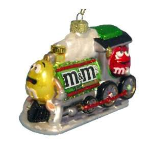 Kurt Adler M&M Glass Train, Christmas Ornament