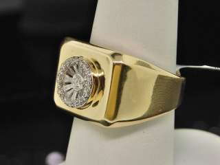 MENS YELLOW GOLD BAGUETTE DIAMOND WEDDING BAND RING .4C