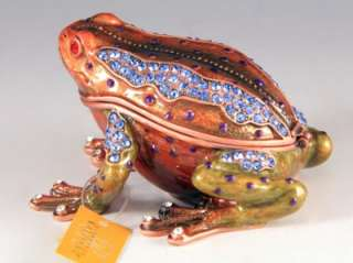 TOAD FROG BLUE SWAROVSKI CRYSTALS BEJEWELED HINGED TRINKET BOX