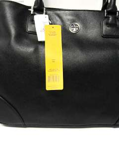 New w/tag$550 TORY BURCH Robinson LARGE Black Leather E/W TOTE PURSE