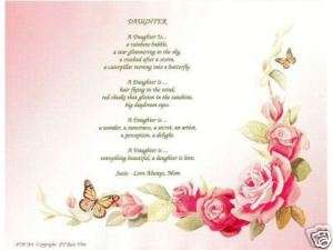 DAUGHTER Poem Rose Print Personalized Name