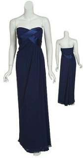 navy blue strapless evening gown with pleated, woven bodice
