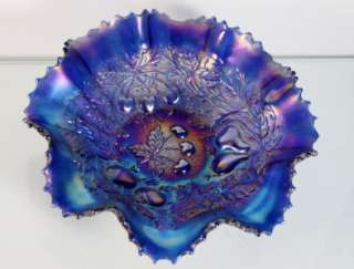 Fruits Carnival Glass Bowl Electric Blue Stippled and ruffled