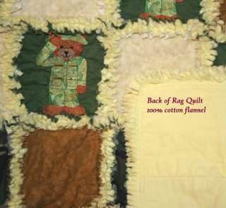 Army Camouflage Teddy Bear Baby Rag Quilt