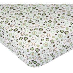 Carters Easy Fit Printed Crib Fitted Sheet, Ecru/Brown Circles Baby