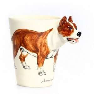 Brown and White Pit Bull Terrier Mug