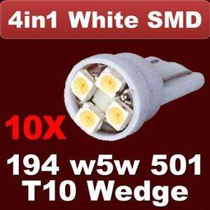 10 X 194 168 LED T10 White 4 SMD Wedge Car Side Indicator Light Bulbs