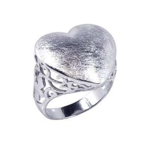 Sterling Silver Sand Blast Heart Ring Size 5 Jewelry