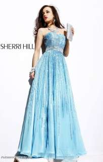 Sherri Hill 8437 Light Blue Beaded Chiffon Pageant Prom Gown 12
