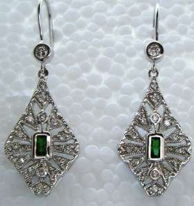 Antique ART DECO STYLE Sterling White Sapphire Earrings