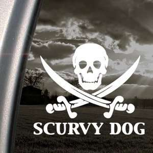 Scurvy Dog Skull Decal Car Truck Window Sticker