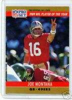 90 Pro Set Joe Montana San Francisco 49ers NFL POY
