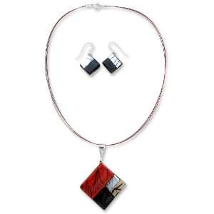 Dichroic art glass jewelry set, Sophisticate Jewelry