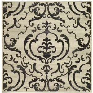 Inch Square Indoor/ Outdoor Square Area Rug, Sand and Black Home