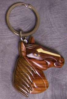 Intarsia Solid Wood Key Ring Animal Horse Head NEW