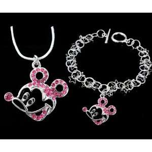Fashion Jewelry ~ Pink Crystals Mickey Mouse Necklace and