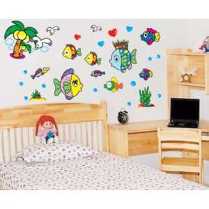 Colorful Fish Tree Wall Sticker Decal for Baby Nursery Kids Room Baby