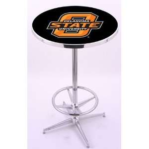 Oklahoma State University Chrome Pub Table With Foot Rest