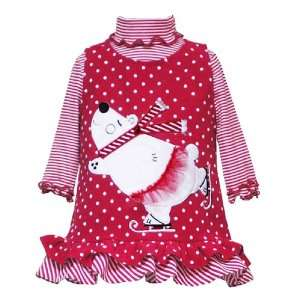 Rare Editions Baby/Infant Girls 12M 24M 2 Piece RED WHITE DOTS STRIPES