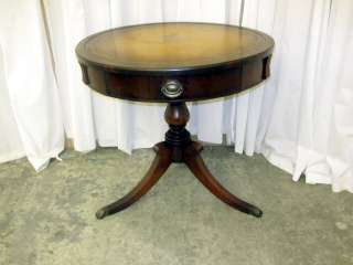 Antique Mahogany Round Side Table w Gold Leaf Embossed Leather Top