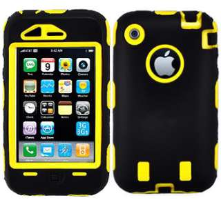 Yellow Heavy Duty Case Tough Cover for Apple iPhone 3GS