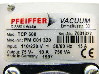 Pfeiffer Balzers Vacuum TCP600 Turbo Pump Controller