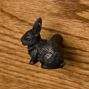 Solid Brass Rabbit Cabinet Knob   Oil Rubbed Bronze