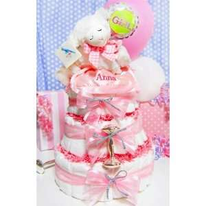 Musical Prayer Gund Lamb 3 Tier Diaper Cake Girl Baby