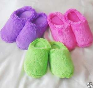 WOMEN FUZZY CLOG SLIPPERS PINK GREEN PURPLE S M L NEW
