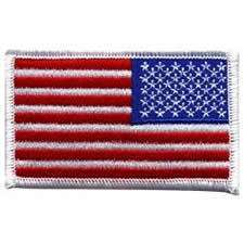 US American Flag Reverse 3 3/8 X 2 White Border Patch