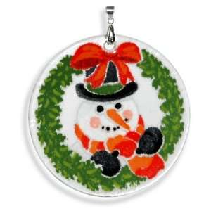 Peggy Karr Handmade Art Glass Christmas Ornament, Snowman